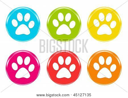 Set of icons with pet footprints
