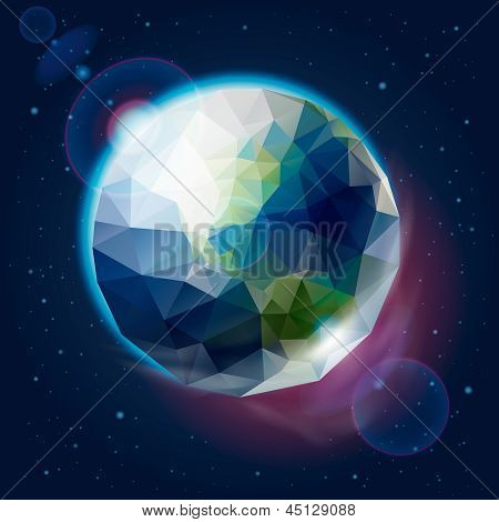 Earth globe as icosahedron