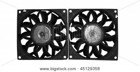 Computer case cooling fans isolated on white background