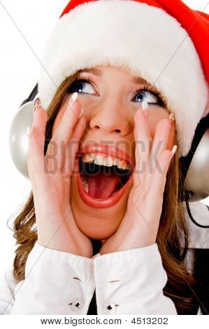 Front View Of Shouting Woman Wearing Headphone