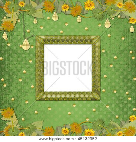 Wooden Frame On The Abstract Background With Bunch Of Flowers And Streamers