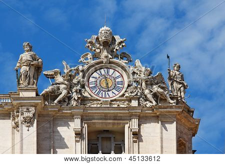 Clock On Facade Of Saint Peter Basilica. Vatican, Italy
