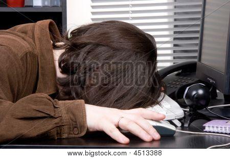 Man Sleep On Working Place