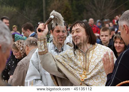 Darna, Istra, Russia, 2013, May, 5: Orthodox priest father Constantin Volkov with his congregation