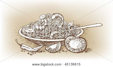 Italian pasta with tomato drawn by hand