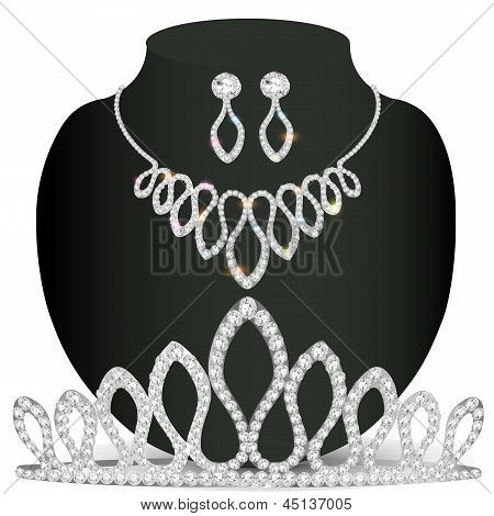 Necklace Diadem And Earrings With White Precious Stones