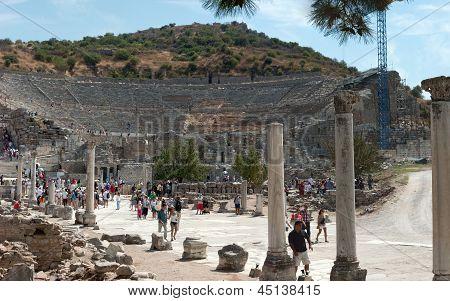 The Ancient Theater In Ephesus, Turkey.