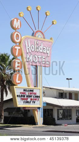 Retro motel sign along the las vegas strip