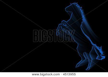 Blue Rampant Horse