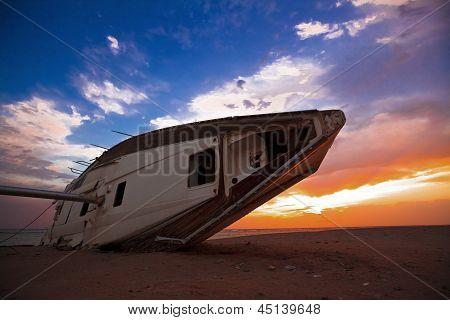 sailing boat on sunrise