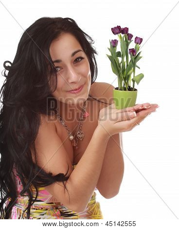 Expressive Woman With Small, Flowers