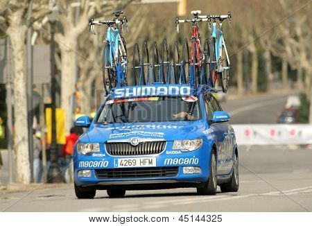 BARCELONA - MARCH, 24: Car assistance car of Argos Shimano Team during the Tour of Catalonia cycling race through the streets of Monjuich mountain in Barcelona on March 24, 2013