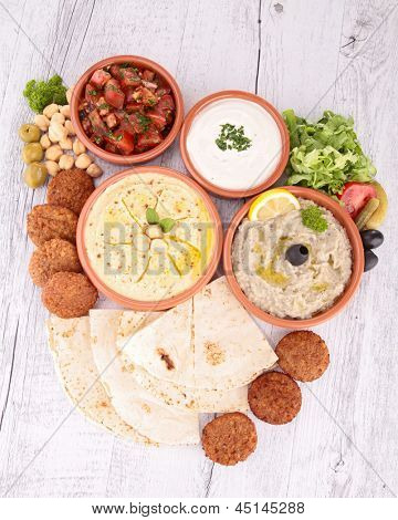 falafel with dips and bread
