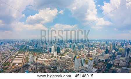 View Of Bangkok City With Clouds