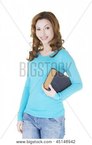 Attractive adult woman with books, isolated on white