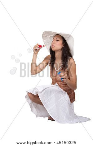 Woman In White Sun Hat