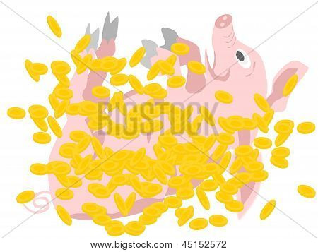 cerdo en monedas de oro
