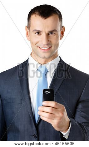 Businessman in suit and blue tie taking pictures with phone, isolated on white