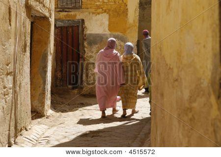 Two Moroccan Women In Djellabas