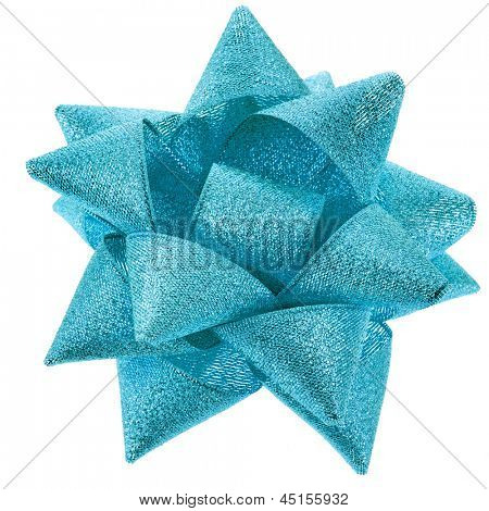 gift shining blue ribbon bow isolated on white background
