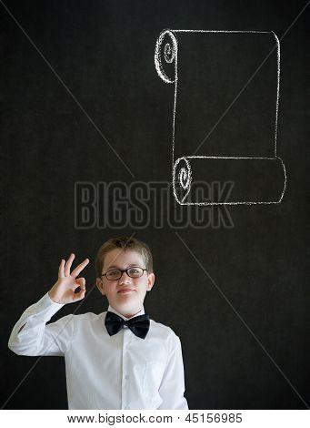 All Ok Boy Dressed As Business Man With Chalk Menu List