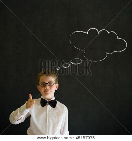 Thumbs Up Boy Dressed As Business Man With Thought Thinking Chalk Cloud