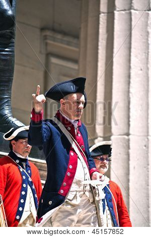 Ceremony For Declaration Of Independence In Old Costumes Takes Place At The Washington Statue