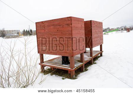 Beach Dressing Cabin Snow Woman Legs Shoes Winter