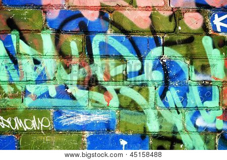 Paint Brick Wall Notes Marks Vandalism Background