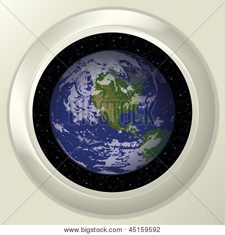 Earth and space in window