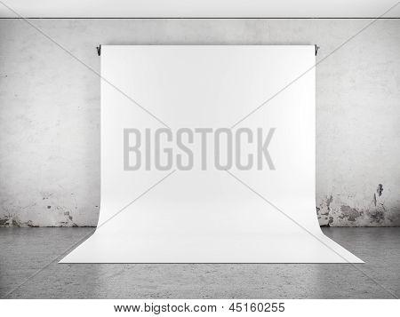 White backdrop in room