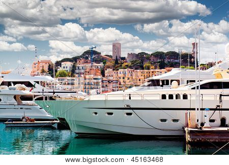 View Of Le Suquet- The Old Town And Port Le Vieux Of Cannes, France