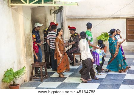 Security Check At The Palace Of Udaipur