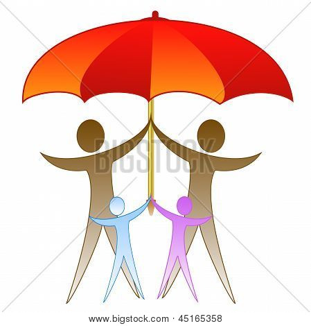 The Picture Of Family Under A Large Red Umbrella