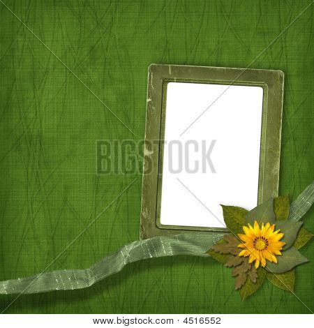 Old Frame With Bunch Of Flowers On The Abstract Background