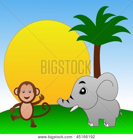 Fairy-tale Personages Elephant And Monkey On A Green Lawn