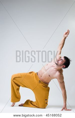 Young Handsome Dancer Exercising