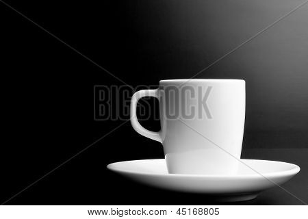 White Cup Of Coffee With Space For Text