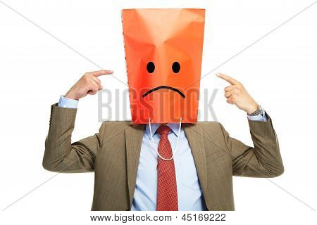 Sad Man With A Box On A Head