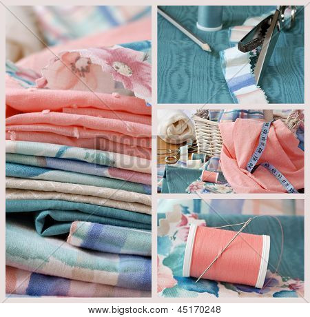 Sewing collage includes macro images of pastel colored fabric, sewing basket with notions, pinking shears on moire fabric, and needle with thread - for home decor, dressmaking, or quilting project.