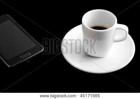 Black Smartphone And Cup Of Coffee