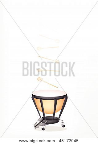Beautiful Classical Timpani With Sticks On White Background