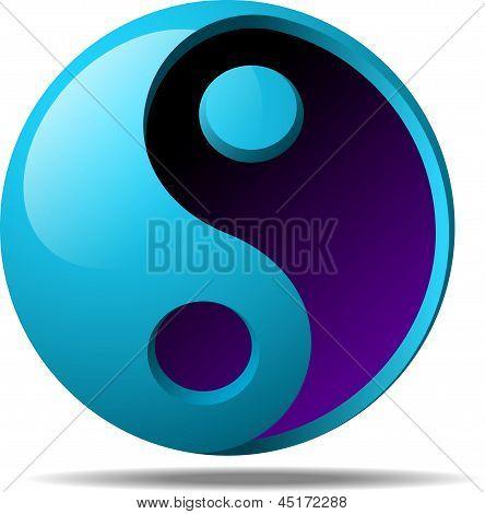 3d ying yang sign
