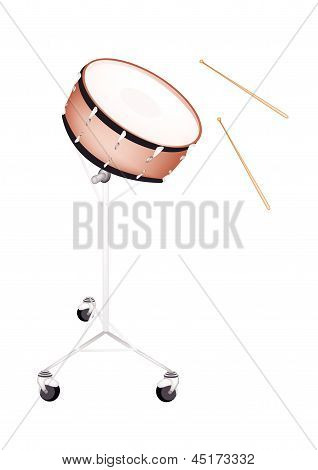 A Beautiful Snare Drum On White Background