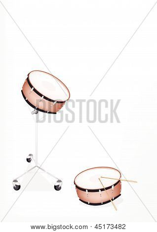 Two Beautiful Snare Drum On White Background