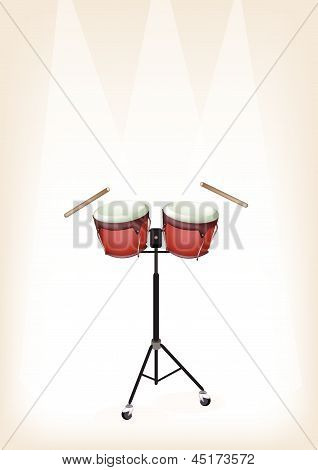 Beautiful Bongo With Stand On Brown Stage Background