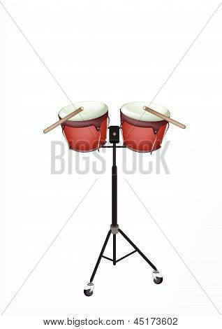 Beautiful Bongo Drum With Sticks On Stand