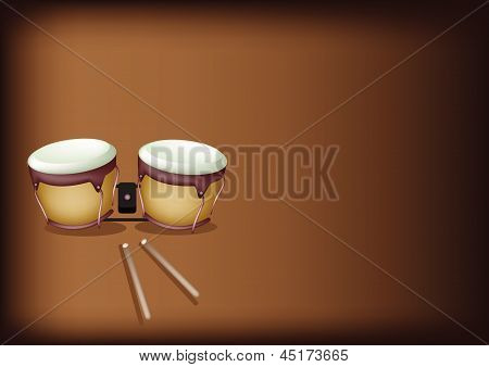Beautiful Bongo Drum On Dark Brown Background
