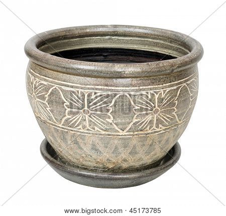Ceramic garden pot isolated over white with clipping path.