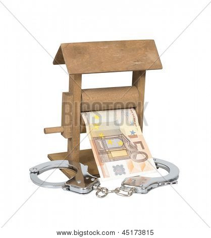 Money laundering. Euro bill in the wringer with handcuffs isolated over white, clipping path included.